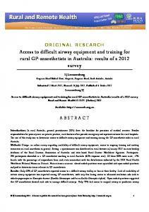 Access to difficult airway equipment and training for rural GP ...