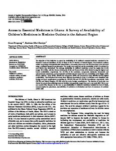 Access to Essential Medicines in Ghana: A Survey of ...
