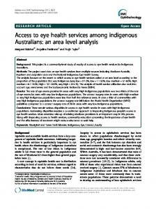 Access to eye health services among indigenous Australians: an area ...