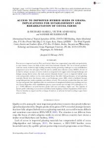 ACCESS TO IMPROVED HYBRID SEEDS IN GHANA: IMPLICATIONS ...