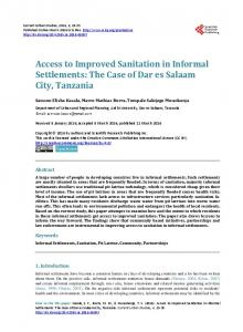 Access to Improved Sanitation in Informal Settlements - Scientific ...