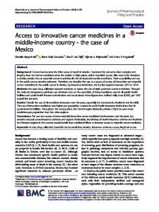 Access to innovative cancer medicines in a middle-income country