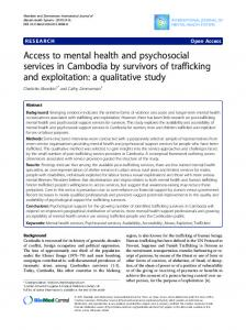 Access to mental health and psychosocial services in Cambodia by ...