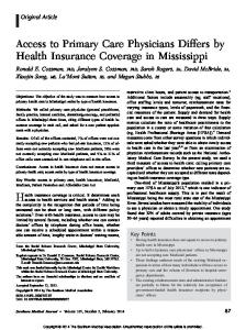Access to Primary Care Physicians Differs by Health Insurance ...