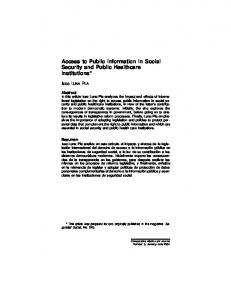Access to Public Information in Social Security and ...