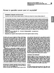 Access to specialist cancer care: is it equitable? - BioMedSearch