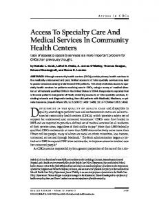 Access To Specialty Care And Medical Services In ...