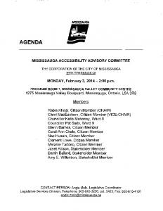 Accessibility Advisory Committee Agenda - City of Mississauga