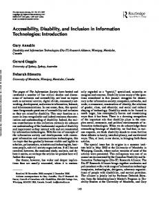 Accessibility, Disability, and Inclusion in ... - Semantic Scholar