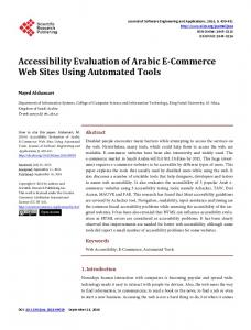 Accessibility Evaluation of Arabic E-Commerce Web Sites Using ...