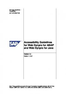 Accessibility Guidelines for Web Dynpro for ... - SAP Design Guild