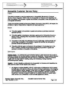 Accessible Customer Service Policy