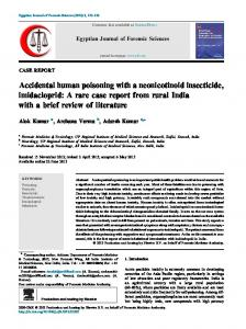 Accidental human poisoning with a neonicotinoid insecticide ... - Core
