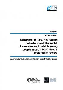 Accidental injury, risk-taking behaviour and the social ... - IOE EPrints