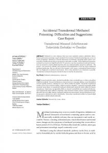 Accidental Transdermal Methanol Poisoning