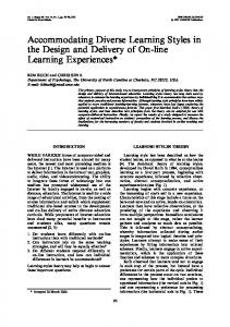 Accommodating Diverse Learning Styles in the Design and ... - IJEE