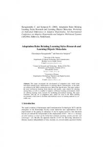 Accommodating Learning Styles In Personalised Learning ... - ASK