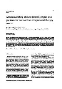 Accommodating student learning styles and ...