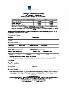 Accommodation Booking Form Template - University of Wollongong