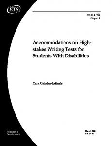 Accommodations on High-stakes Writing Tests for Students ... - ETS