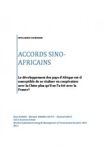 ACCORDS SINO-AFRICAINS