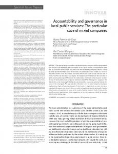 Accountability and governance in local public services: The particular