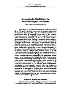 Accounting for Disability in the Phenomenological Life-World - PhaenEx