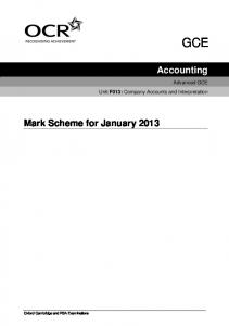 Accounting Mark Scheme for January 2013 - OCR