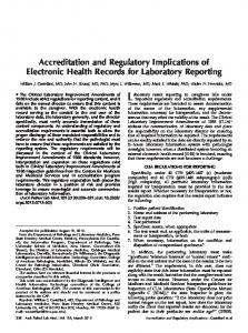 Accreditation and Regulatory Implications of Electronic Health ...