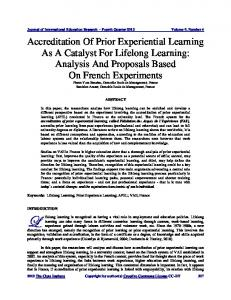 Accreditation Of Prior Experiential Learning As A ... - The Clute Institute