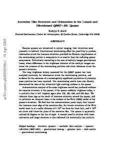 Accretion Disc Structure and Orientation in the Lensed and ...