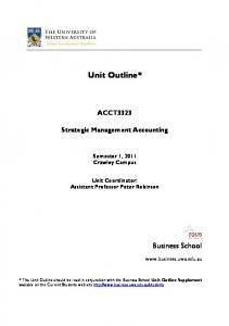 ACCT3323 Strategic Management Accounting S1 ... - Business School