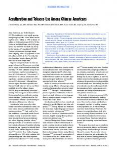 Acculturation and Tobacco Use Among Chinese Americans