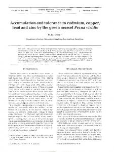 Accumulation and tolerance to cadmium, copper, lead ... - Inter Research