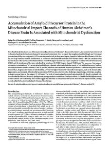 Accumulation of Amyloid Precursor Protein in the Mitochondrial Import ...