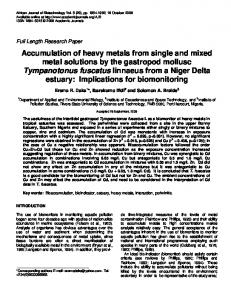 Accumulation of heavy metals from single and ... - Academic Journals