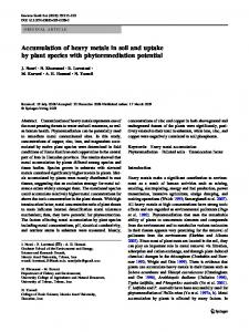 Accumulation of heavy metals in soil and uptake by plant ... - TUMS