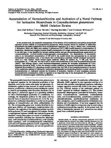 Accumulation of Homolanthionine and Activation of a Novel Pathway ...