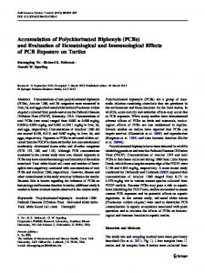Accumulation of Polychlorinated Biphenyls (PCBs) and Evaluation of ...