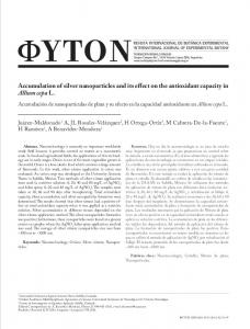 Accumulation of silver nanoparticles and its effect on the antioxidant