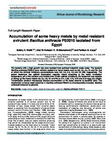 Accumulation of some heavy metals by metal ... - Academic Journals