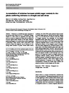 Accumulation of trehalose increases soluble sugar contents in rice ...