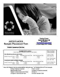 ACCUPLACER ACCUPLACER Sample Placement Test