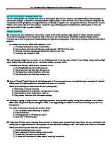 ACCUPLACER ESL Reading Skills Test Sample Questions