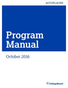 ACCUPLACER Program Manual - College Board