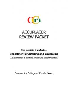 accuplacer review packet - Community College of Rhode Island