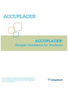 Accuplacer Sample Questions