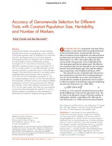 Accuracy of Genomewide Selection for Different Traits with Constant ...