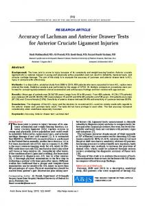 Accuracy of Lachman and Anterior Drawer Tests for Anterior Cruciate ...