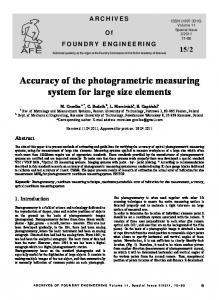 Accuracy of the photogrametric measuring system for large size ...